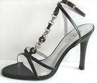 Womens Schuh Gisele Chain T-Bar Black Leather Sexy Sandals Heels Size 3UK 36EU