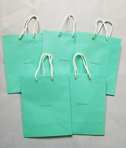 LOT OF 5 TIFFANY & CO. TURQUOISE BLUE GIFT PAPER SHOPPING BAGS