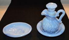 Vintage Avon Blue Pitcher Bowl And Soap Dish 1978