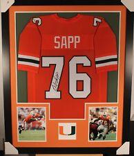 WARREN SAPP (Miami Hurricanes) Signed Autographed Framed Jersey w/ JSA COA