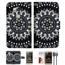 Black AZTEC TRIBAL Wallet TPU Case Cover For HUAWEI G8 -- A005