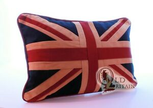 """2 x Authentic Wovenmagic Vintage Union Jack Couch Cushion. 12 x 18"""" Cotton"""