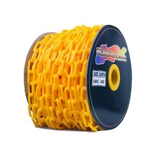 Yellow Plastic Safety Chain 6mm x 40 meter roll plastic link warning chain OH&S