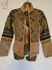 Worn Once! AZTEC Woven Brown Jacket 100% Cotton. M 10-12uk cost £80 Tribal Print