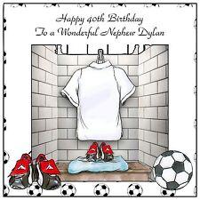 Mens Boys Handmade Personalised Birthday Card  ANY AGE White Football Kit
