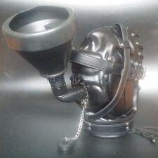 Head Hood Mask Mouth Plug Gag Headgear Funnel Fluid Liquid Feeder Muzzle Nozzle