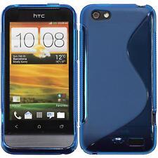 Silikon Hülle für HTC One V blau S-Style + 2 Schutzfolien