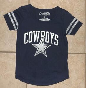 Girls XS / 5 Dark Blue DALLAS COWBOYS Sparkly Cotton Blend Tee Shirt