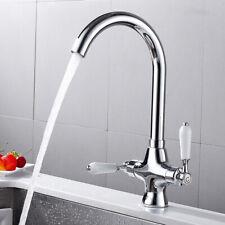 Zweigriff Wasserhahn Einhebelmischer Bad Wandarmatur+Brause Spültisch Messing GP