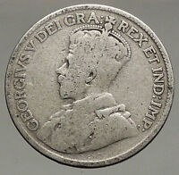 1917 CANADA - UK King George V - Authentic Original SILVER 25 CENTS Coin i56842