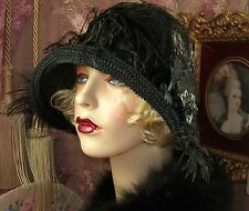 1920'S VINTAGE STYLE GREY & BLACK ROSE FEATHER RIBBON CLOCHE FLAPPER HAT