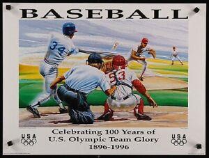 1996  BASEBALL 100 YEARS CELEBRATING U.S. OLYMPIC TEAM GLORY POSTER
