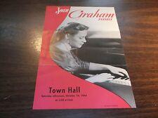 OCTOBER 1954 JEAN GRAHAM PIANIST CONCERT PROGRAM TOWN HALL NEW YORK CITY