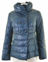BENETTON Womens Padded Jacket IT 40 Small Blue Polyester  AW16