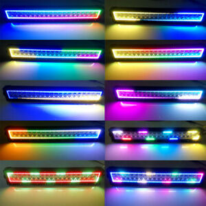 "13""- 52"" Inch Dream Color LED LIGHT BAR COMBO RGB Halo Chasing Strobe Bluetooth"