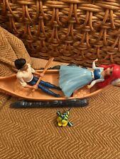 Disney Princess Ariel & Prince Eric Little Mermaid figures & boat + Flounder (b6