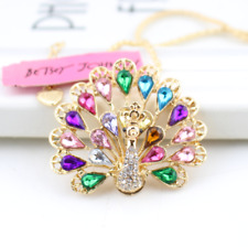 peacock Rhinestone crystal charmNecklace us Jewelry Betsey Johnson Pendant gift