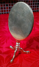 Antique Victorian Brass Oval Tilt Top Tripod Table Candle Reflector