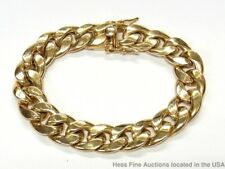 Massive Solid 10k Gold Bracelet Mens Wide 44gram Classic Curb Cuban Link 8.75in