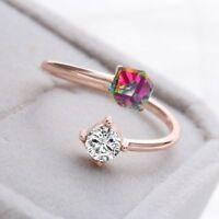 2PCS Fingerring 18k Rose Gold überzogen Würfel Zirkon Kristall Farbwechsel