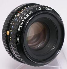 Asahi SMC Pentax-A 50mm F2.0 PK Mount Prime Lens For SLR/Mirrorless Cameras