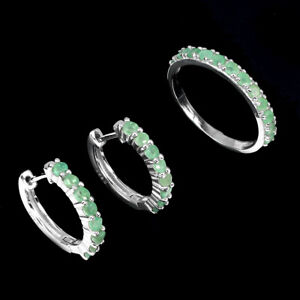 Unheated Round Green Emerald 2.5mm 14K White Gold Plate 925 Sterling Silver Sets