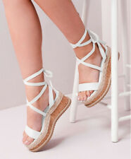 UK Womens Ladies Flat Wedge Espadrille Sandals Lace Tie Up Platform Summer Shoes