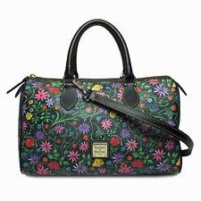DOONEY & BOURKE Black Floral Classic Satchel Barrel Shoulder Bag • NWOT