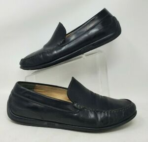 Ecco Driving Shoes Moccasin Moc Toe Black Leather Penny Loafer Men 46 12 12.5