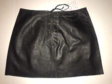 Free People Black Genuine Buff Leather Front Lace-up Skirt Size 10