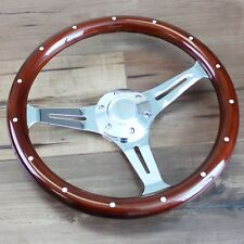 """14"""" Inch Slotted 3 Spoke Steering Wheel Riveted Wood Grip, 6 Hole Classic Euro"""