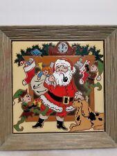 "VINTAGE 1984 ARIUS SANTA FE ART TILE ""SANTA & ELVES 8 X 8 INCH FRAMED"