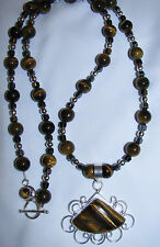 Tiger's Eye natural stone pendant necklace rock healing jewelry soothing protect