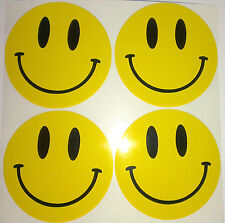 4 x Smiley Face Acid Rave Sticker Decals 50mm dia Car Bike Laptop Mobile etc