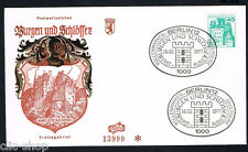 GERMANIA BERLINO BERLIN 1 BUSTA PRIMO GIORNO FDC CASTELLI E FORTEZZE ELTZ 1977