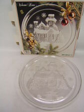 """D'Arques Arcoroc France Crystal Glassware """"Welcome Home"""" 13"""" Platter Christmas"""