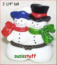 Happy Snow Couple-Porcelain Hinged-Box-Side-By-Side