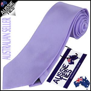 MENS LAVENDER PURPLE 8.5CM TIE necktie wedding plain lilac light