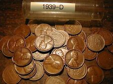 1939-D LINCOLN WHEAT CENT PENNY ROLL, 50 COINS, GOOD-VERY FINE