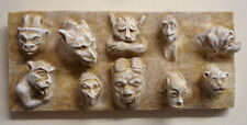 Vintage 10 Gothic Medieval Greenman Gargoyle Mythical Faces Wall Plaque