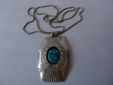 Gorgeous vintage sterling silver turquoise Navajo necklace pendant CHEE signed