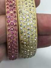 Estate Fresh...Pair of Celluloid Sparkle Bangles- Pink, Clear- 20's Flapper Deco
