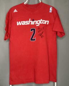 Adidas NBA Washington Wizards Signed By John Wall #2 Red Basketball T Shirt - M