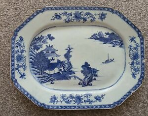 Antique Chinese Blue and White Serving Plate Qing Dynasty 18th Century