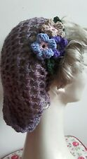 flower Vintage style 1940's handmade hair snood wartime ww2 Heather hairnet
