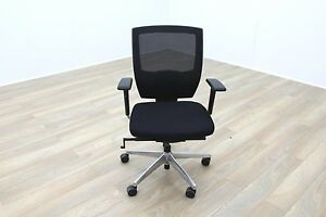 Black Fabric / Mesh & Polished Aluminium Office Task Chairs