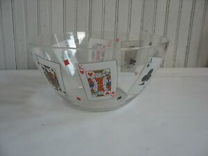 """Vintage 11"""" Large Glass Serving Bowl Poker Playing Cards ARC Arcoroc France"""