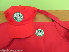 UNIQUE RED Christmas Gift Starbucks barista apron and hat set,both adjust