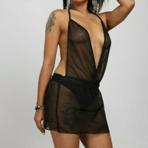 Black Sheer Micro Mini Dress Women's See thru Plus Size Plunge Fitted Sleeveless