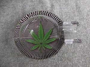 (186) Black Striped Thick Glass Ashtray with Cannabis Leaf Design